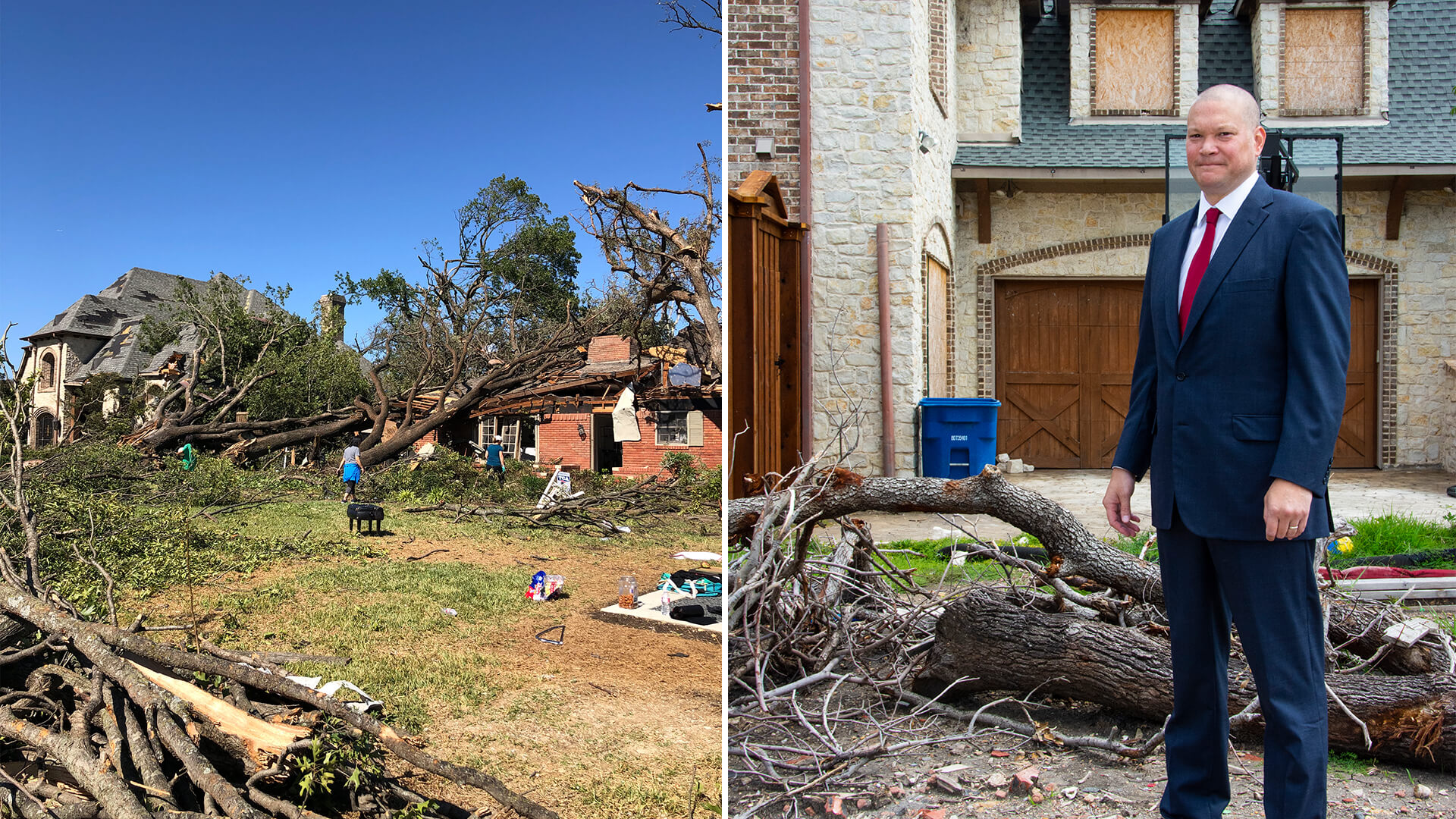 Paul in front of a home damaged by a storm. This is the type of destruction the company restore.