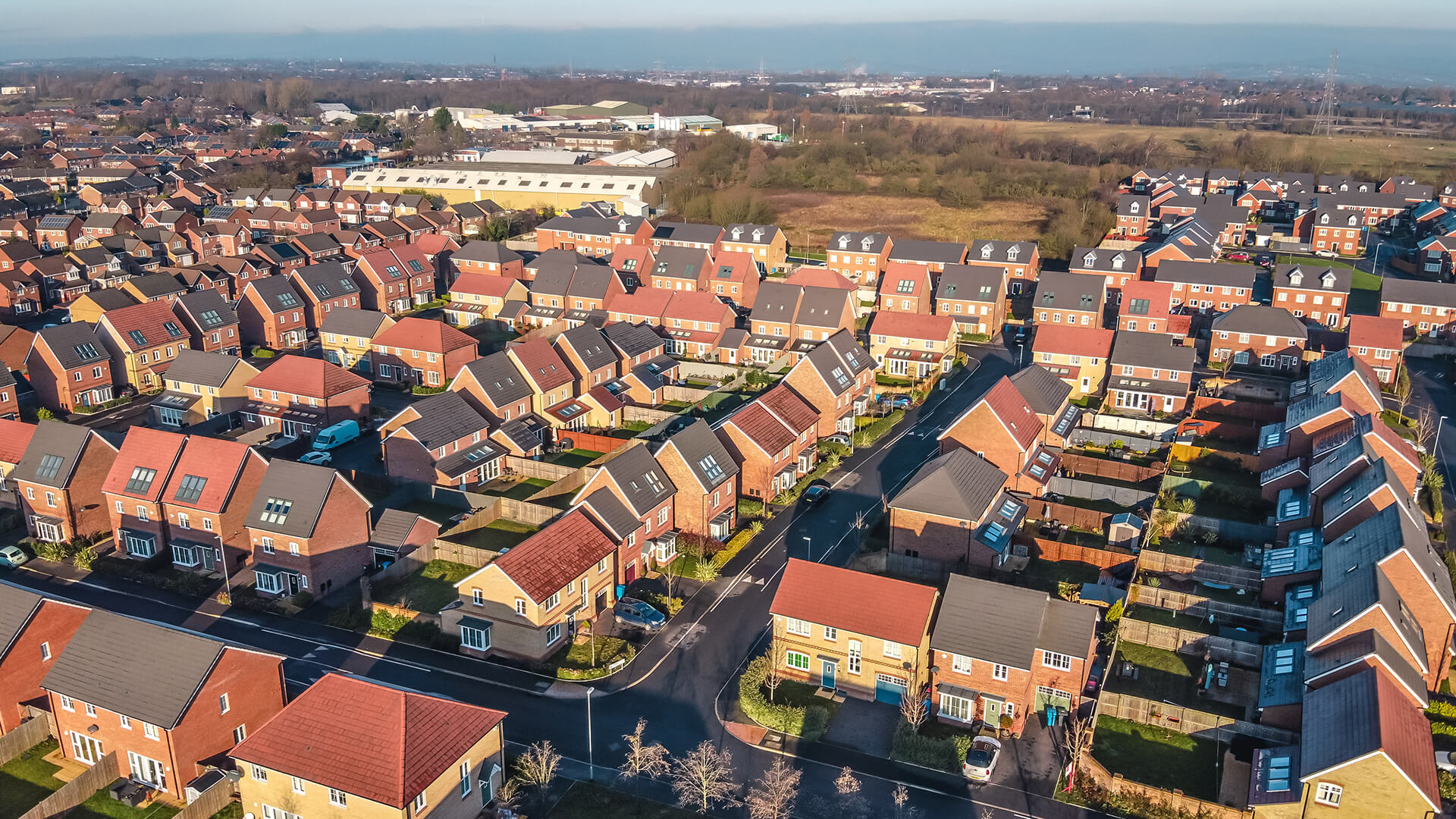 Drone view of a housing estate in the UK