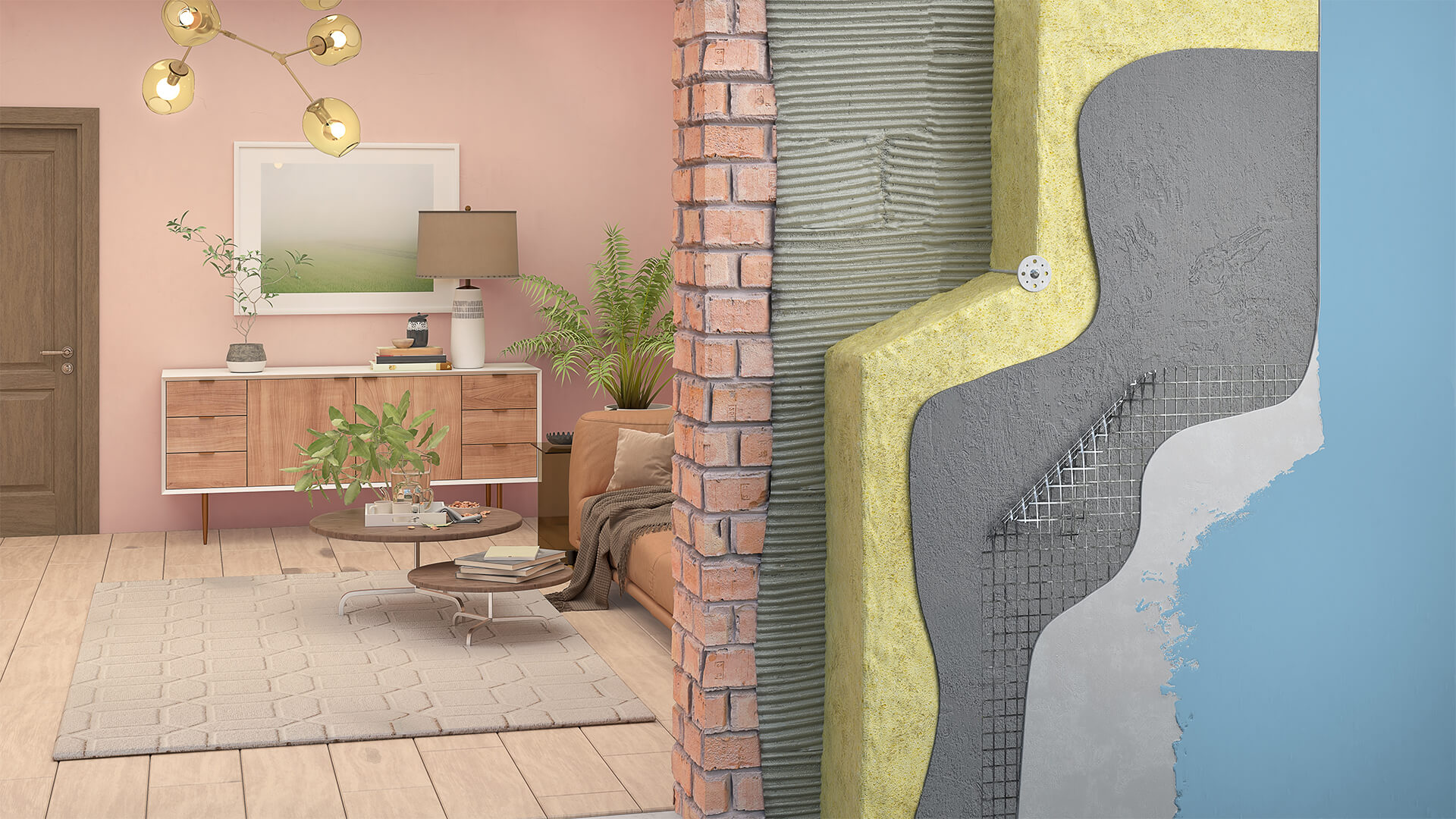3D render of the wall structure of a house, showing brick, cladding, and insulation layers of a wall, with the wall opening to a living room