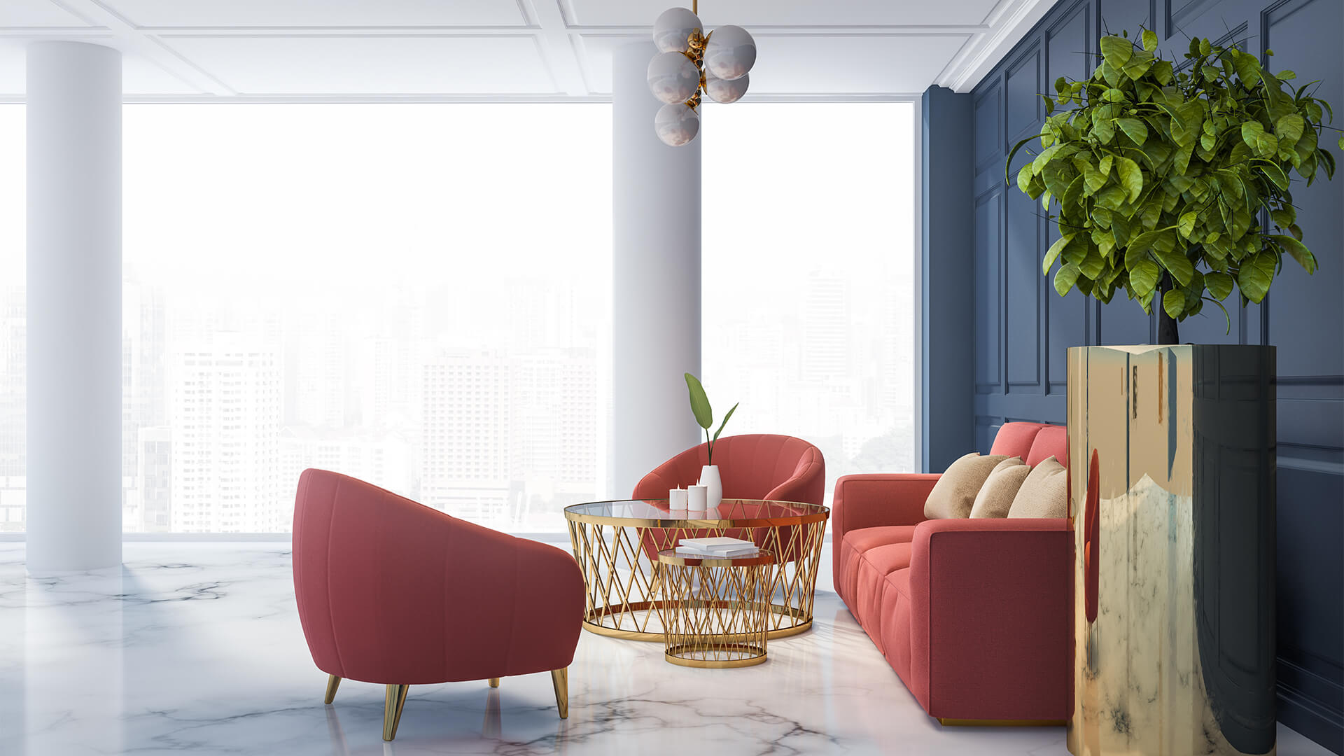Chic living room with a marble effect epoxy flooring and pink sofas