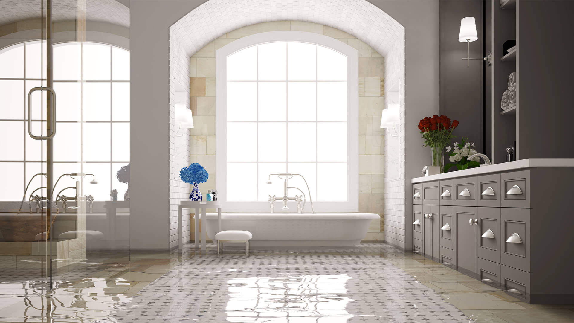 White tile and wooden floor bathroom with a few inches of flood water across the floor