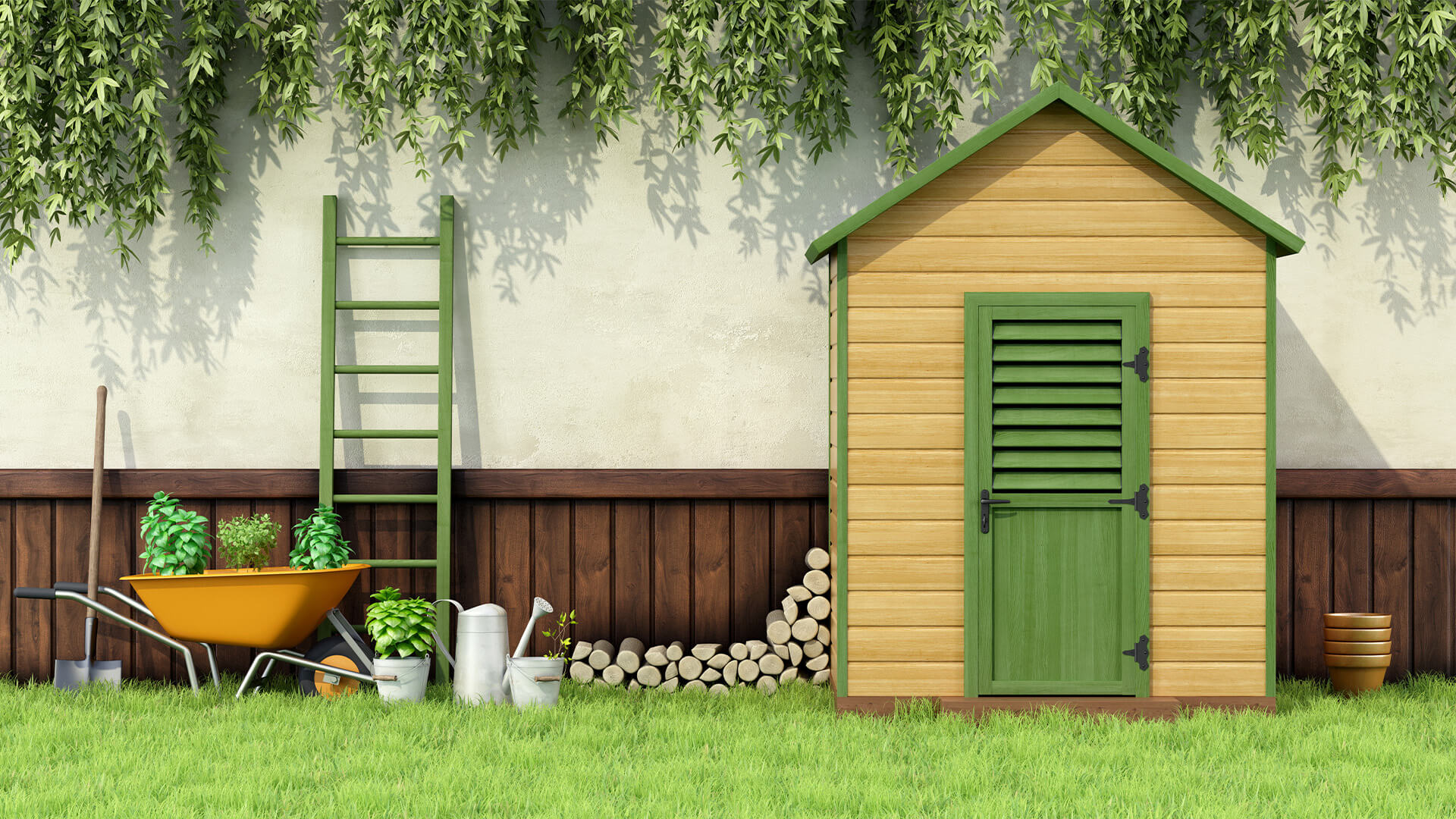 Green and beige garden shed with ivy, a ladder, wheelbarrow, and potted plants