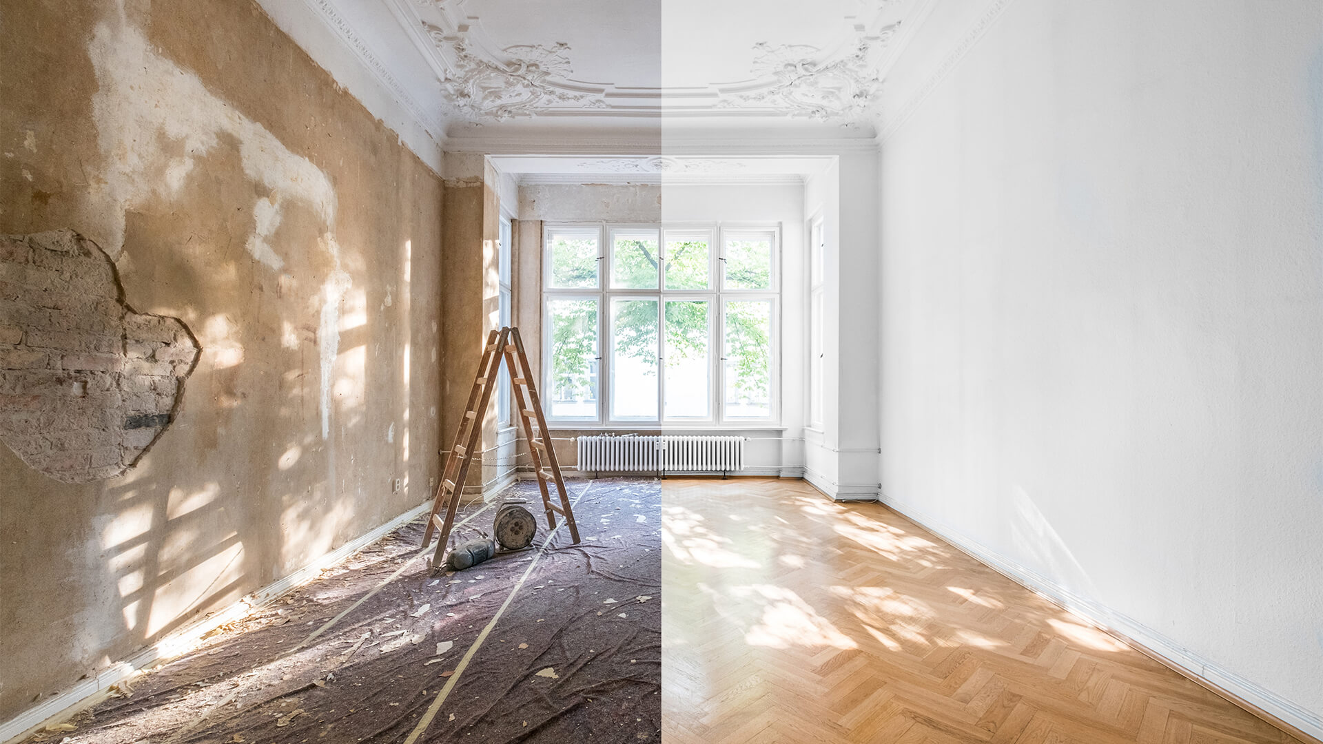 Before and after home renovation showing the left side of the room with broken floor panels and chipped paint, and the after on the right with painted walls and perfect floors