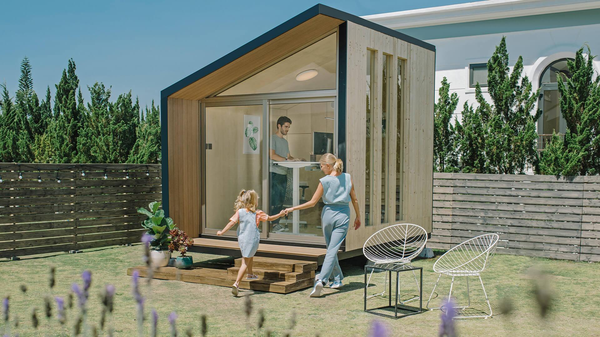 Outdoor office pod in a garden