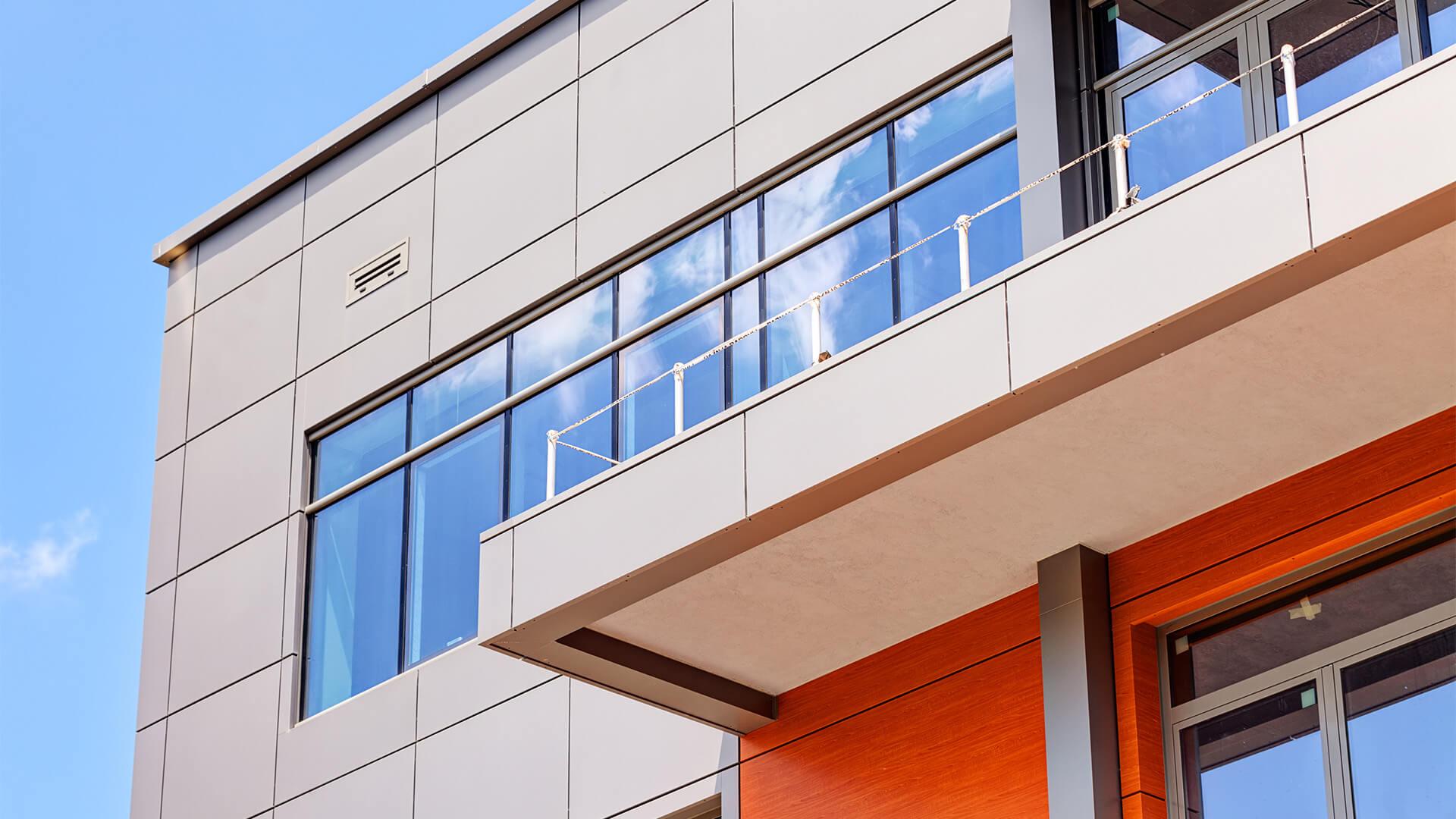 metal outer facade of a building
